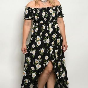 Regular & PLUS SIZE Flirty Floral High Low Maxi